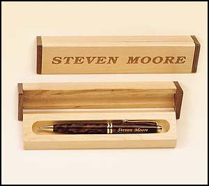 Wooden Box and Tortoise shell pen set
