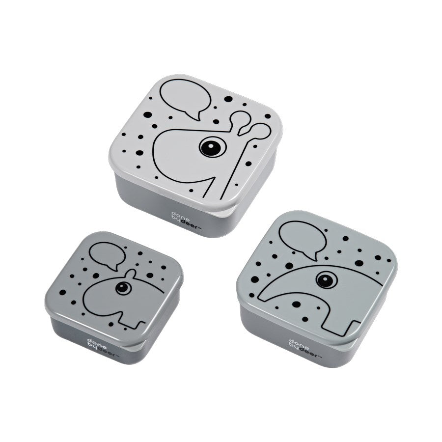 Done By Deer - Snack box set - 3pcs - Grey