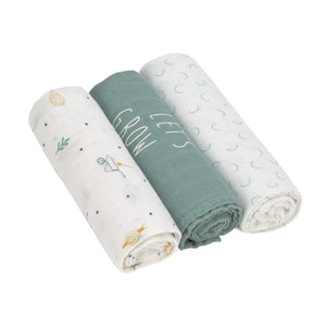 Lässig - Soft Swaddle L - Garden Explorer Boys - 3 pack