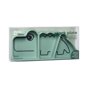 Done By Deer - Silicone stick & stay snack plate Croco - Green