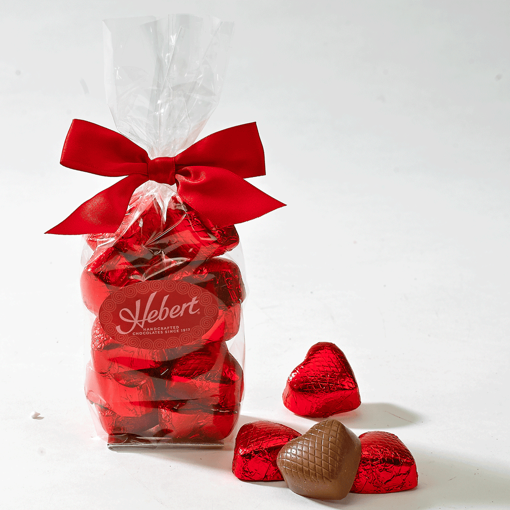 Valentine's Day Milk Chocolate Red Foil Wrapped Hearts