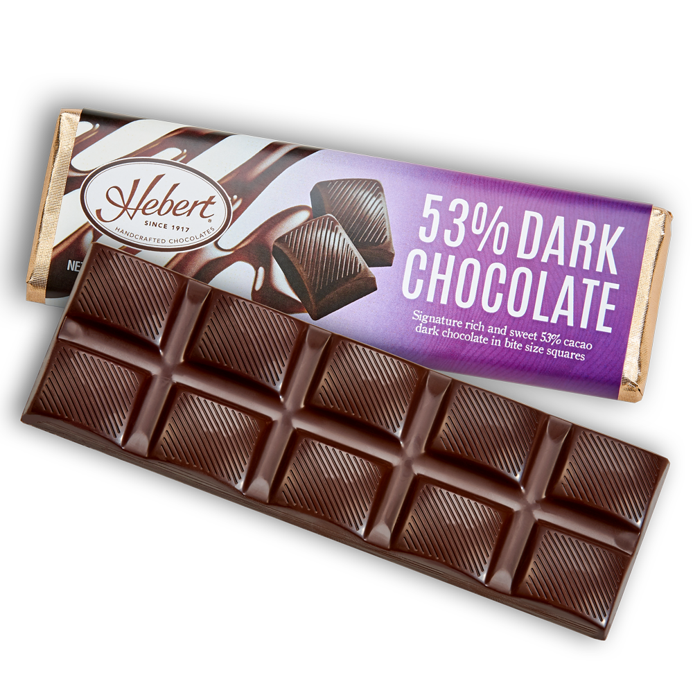 Solid Dark Chocolate Bar 53% (2.15oz.) 12 Bar Pack