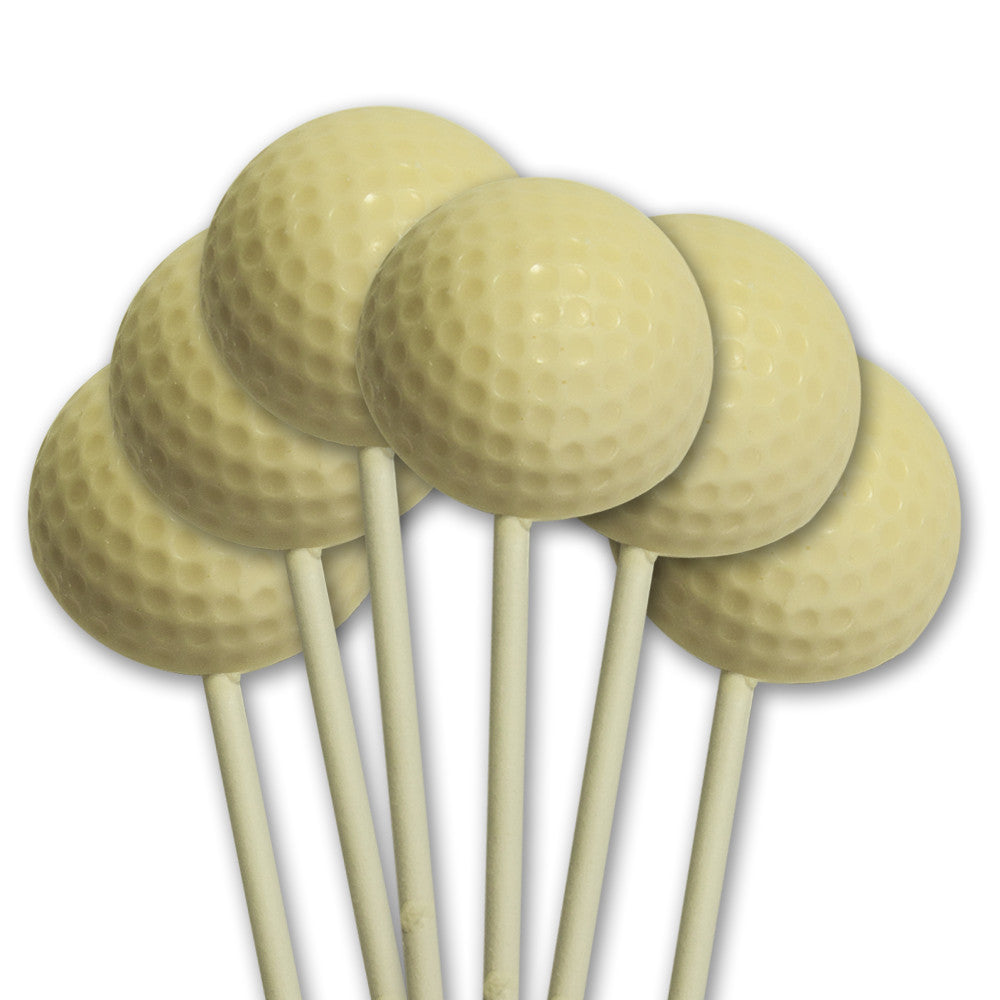 White Chocolate Golf Ball Pops - Set of 6