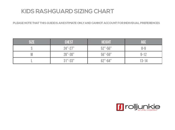 Kids Rash Guard Size Chart