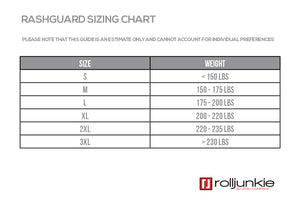 BJJ Rash Guard Size Chart