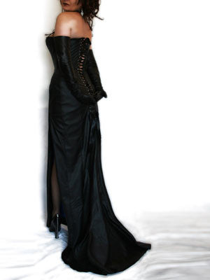 long black leather siren corset dress one of our range of