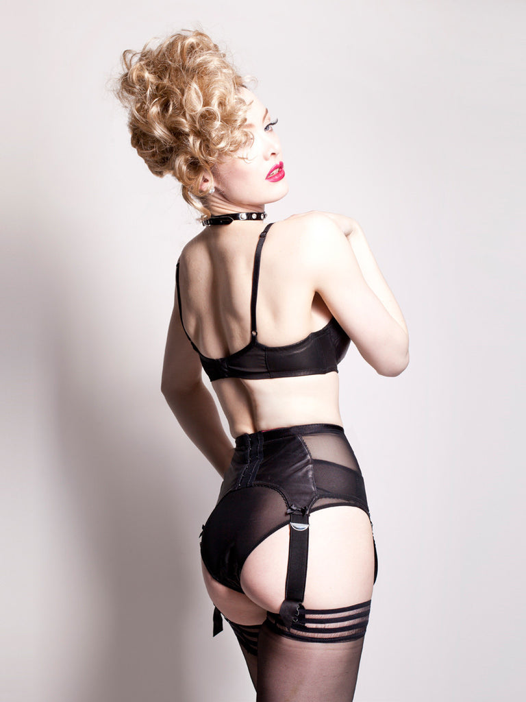 black leather Miranda balcony bra and matching briefs and suspender belt