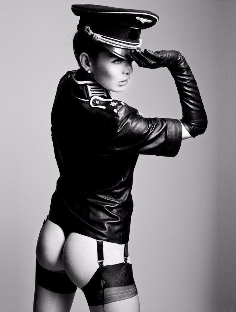 leather military shirt back view