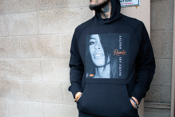Aaliyah Try Again Remix Black French Terry Hoodie