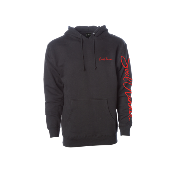 Our Soul Runner by Tyreek Hill Men's pullover hooded sweatshirt is made with soft, mid weight 3 end fleece and generous fit for comfort. Features a jersey lined hood, heavy gauge drawcord with metal eyelets and 1x1 ribbing at cuffs and waistband.