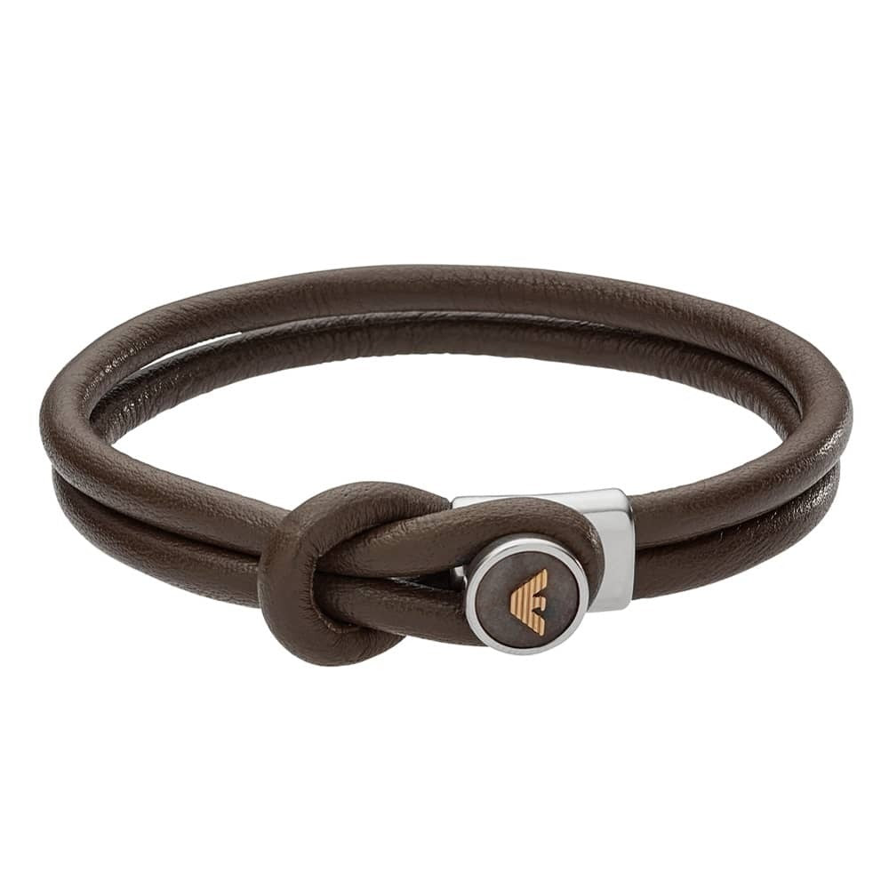 Mens Brown Leather Logo Bracelet BON2391040