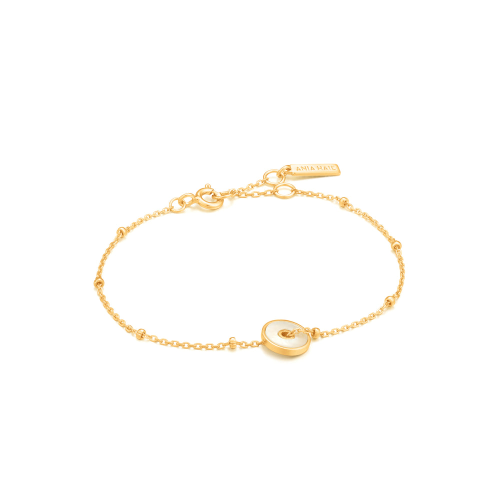 Mother of Pearl Disc Bracelet Gold