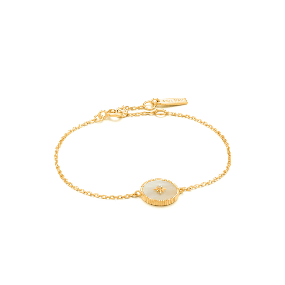 Mother of Pearl Emblem Bracelet Gold