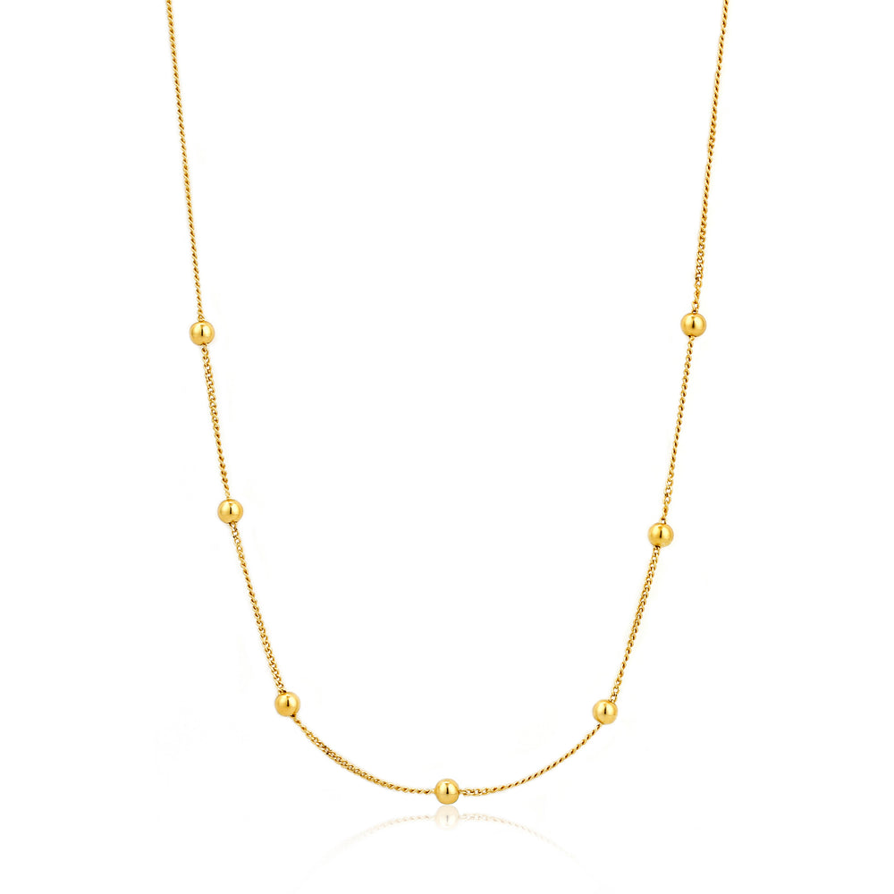 Modern Beaded Necklace Gold