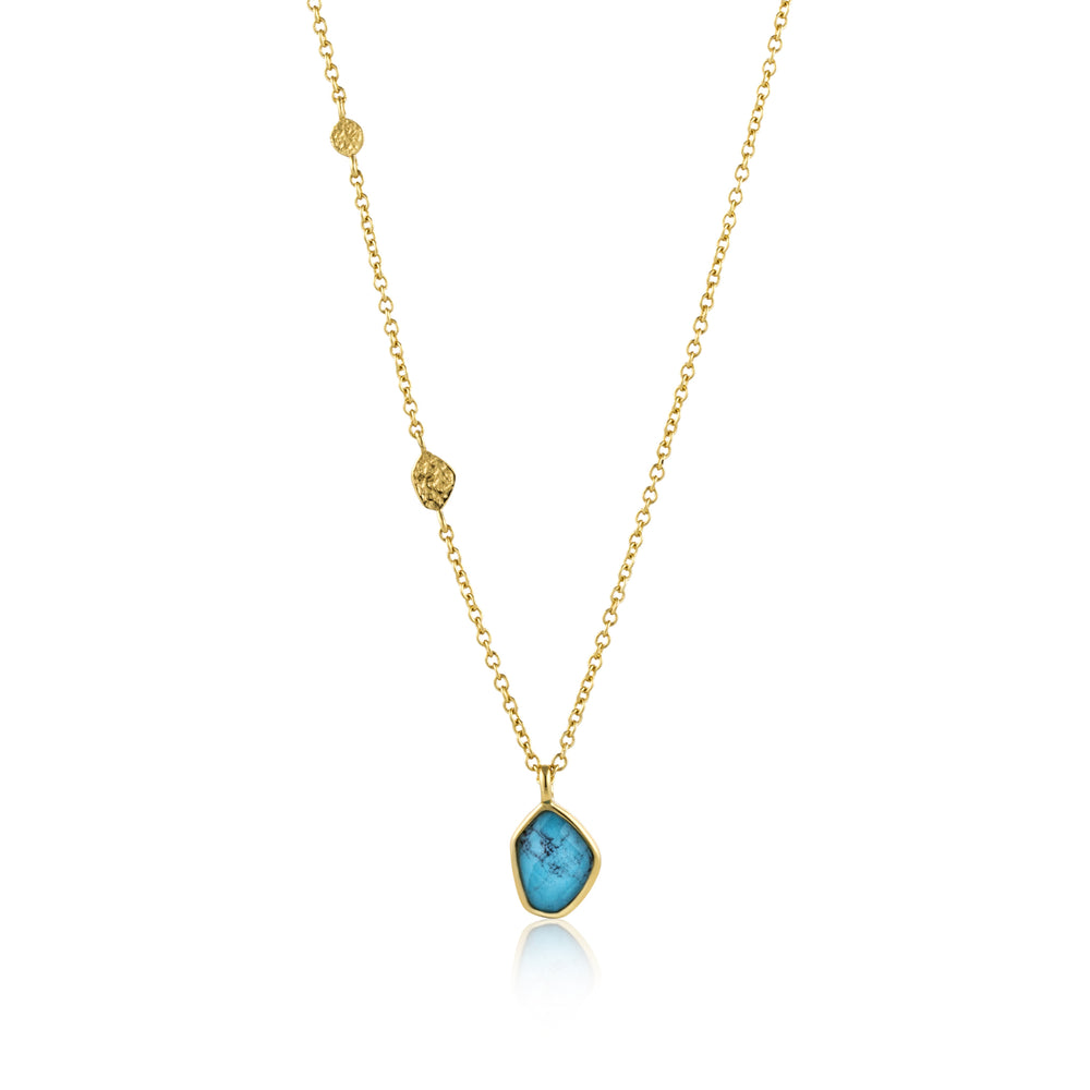 Turquoise Pendant Necklace Gold