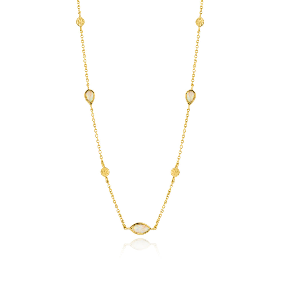Opal Colour Necklace Gold