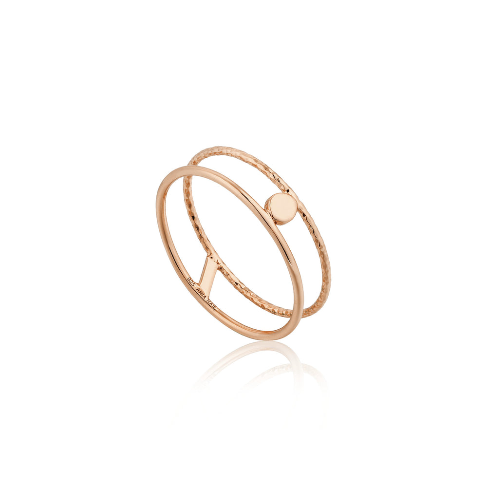Texture Double Band Ring Rose Gold