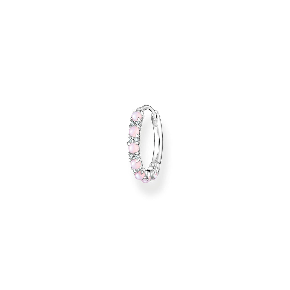 Single Pink Stone Hoop Earring