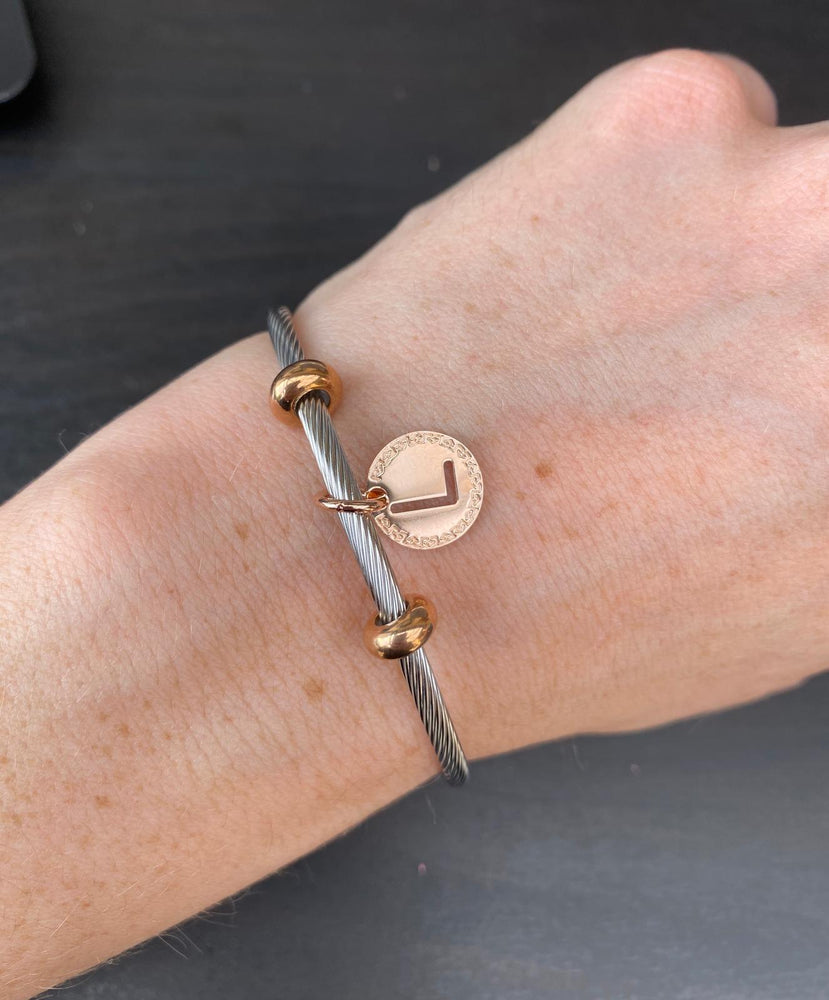 My World Two Tone Initial Bangle