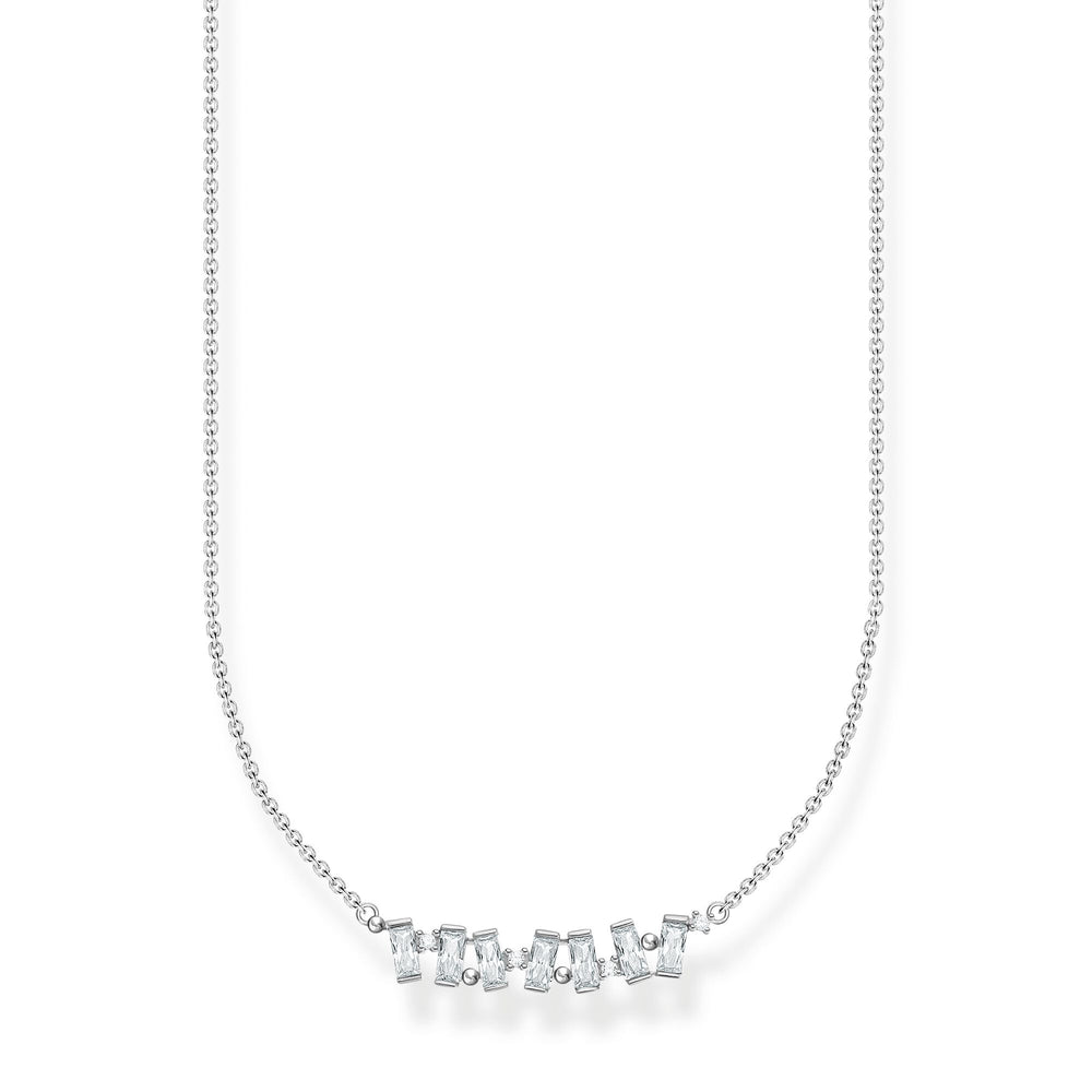 Baguette White Stone Necklace Silver