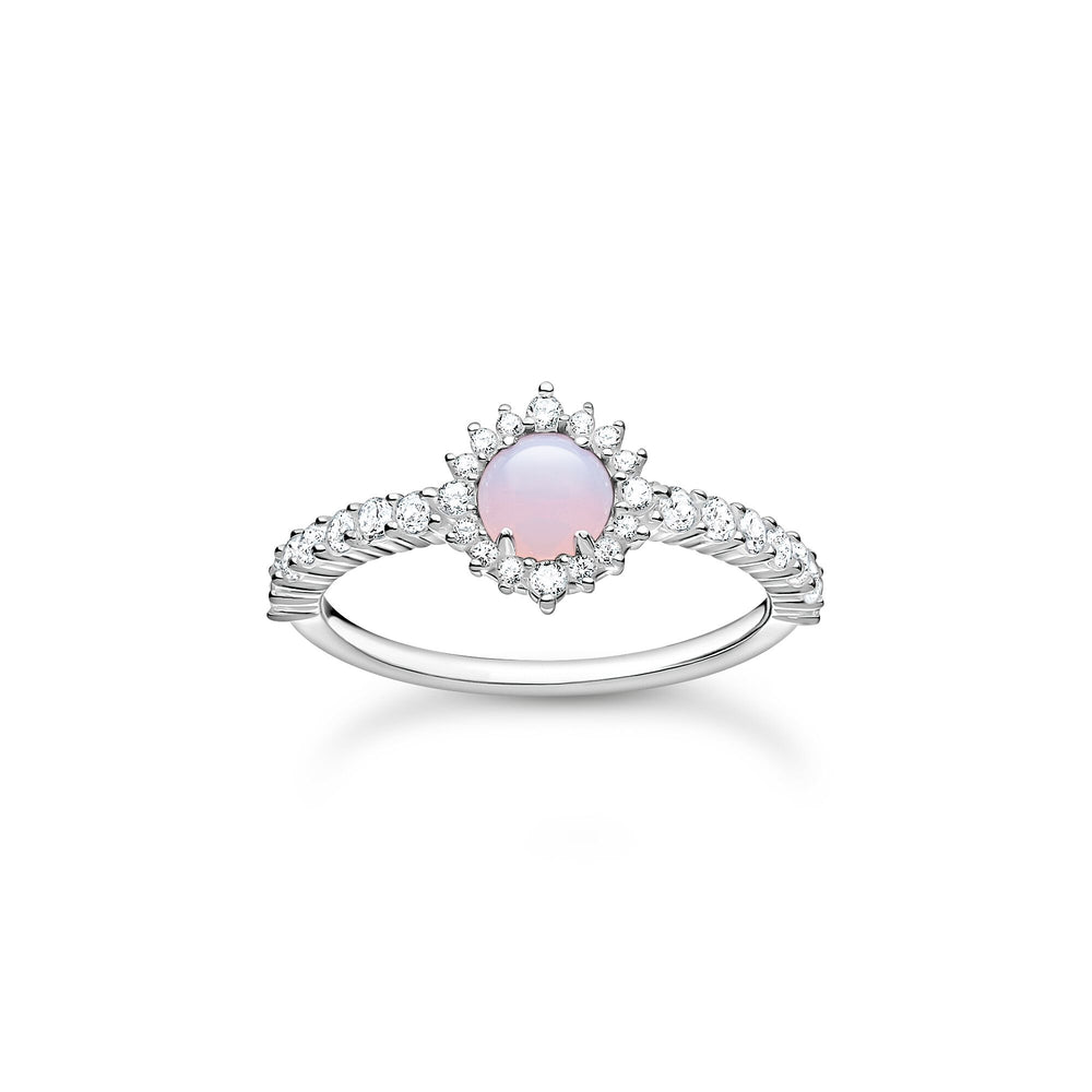 Opal-Coloured Stone Shimmering Pink Ring