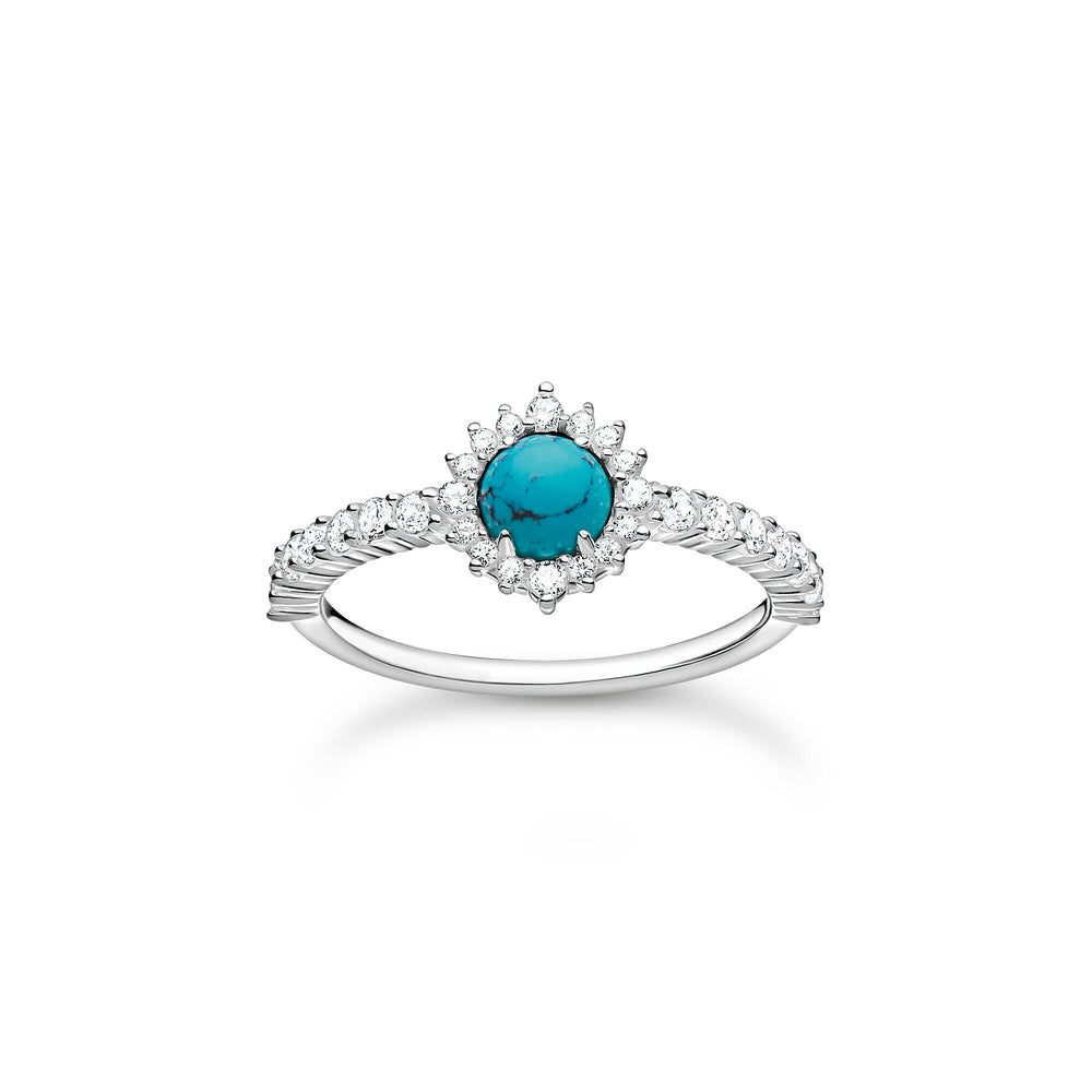 Turquoise Stone with White Stones Ring