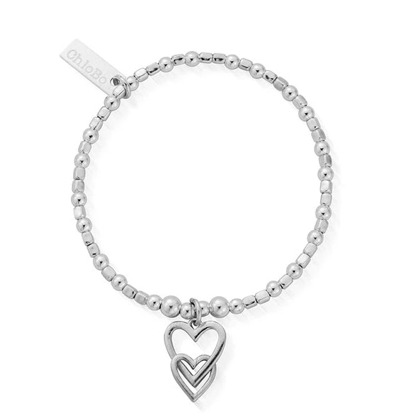Interlocking Love Heart Bracelet Silver