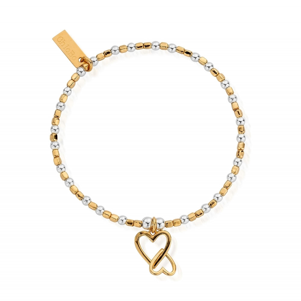 Interlocking Love Heart Bracelet Gold & Silver