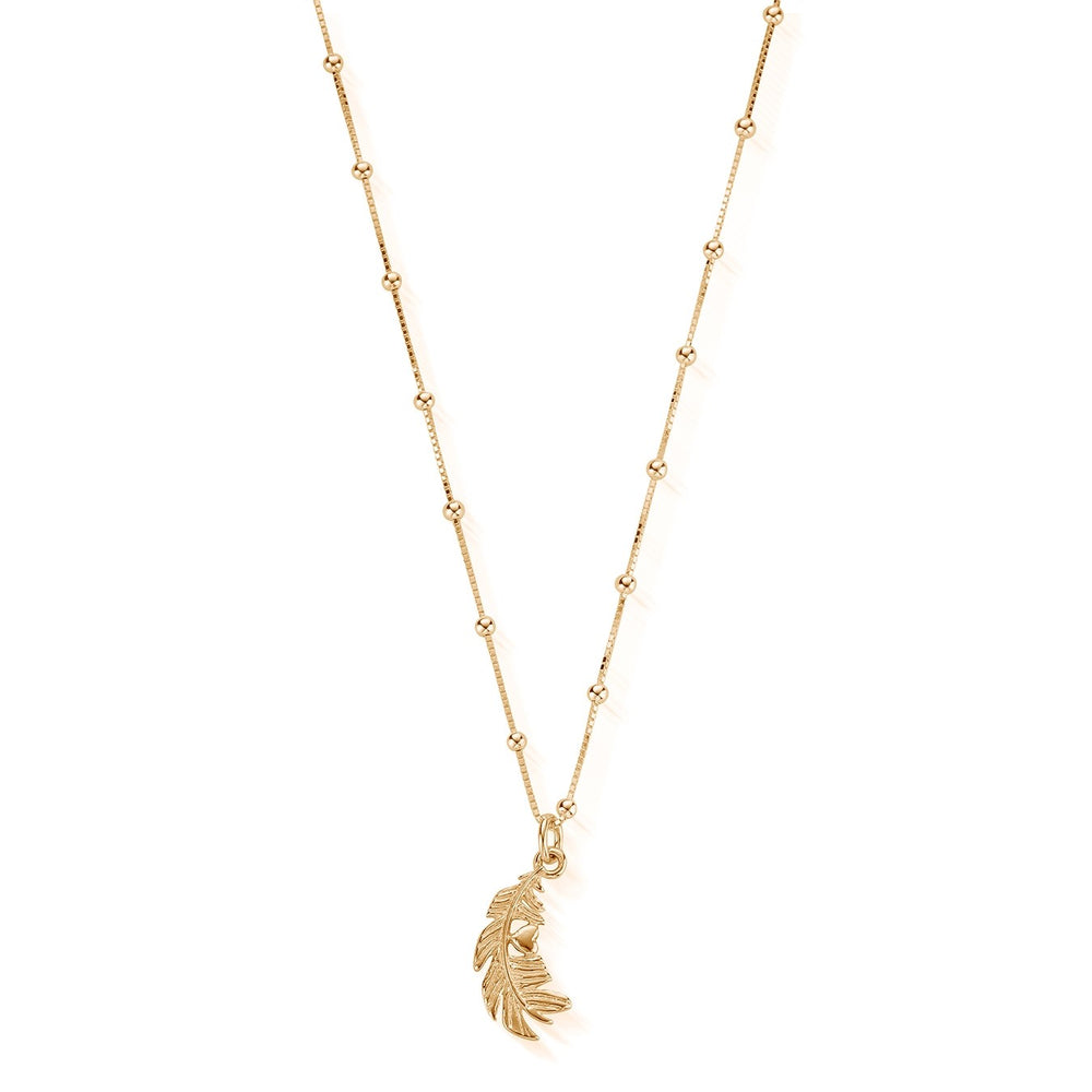 Heart in Feather Necklace Gold