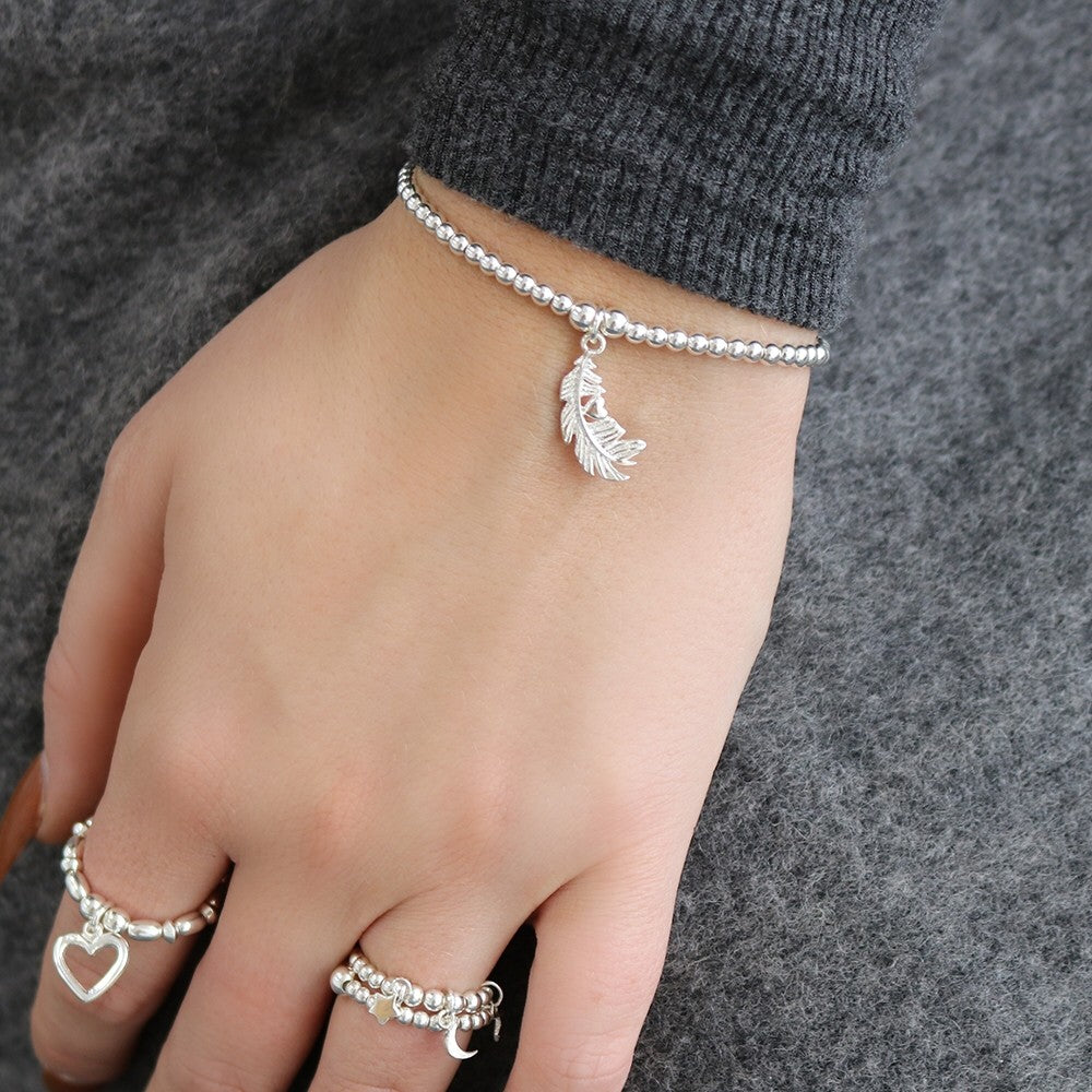 Heart in Feather Bracelet Silver