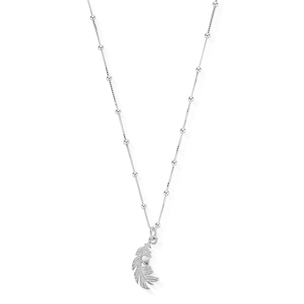 Heart in Feather Necklace Silver