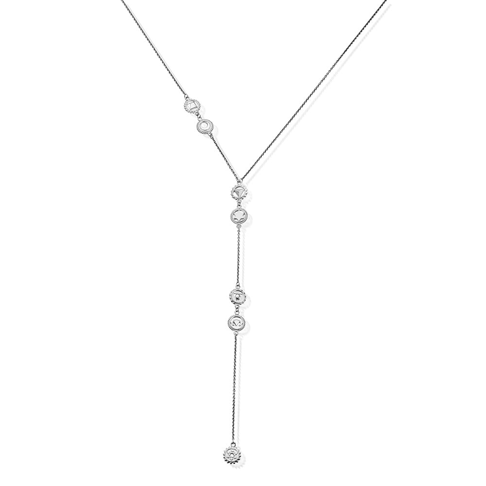 Positive Vibes Lariat Necklace Silver