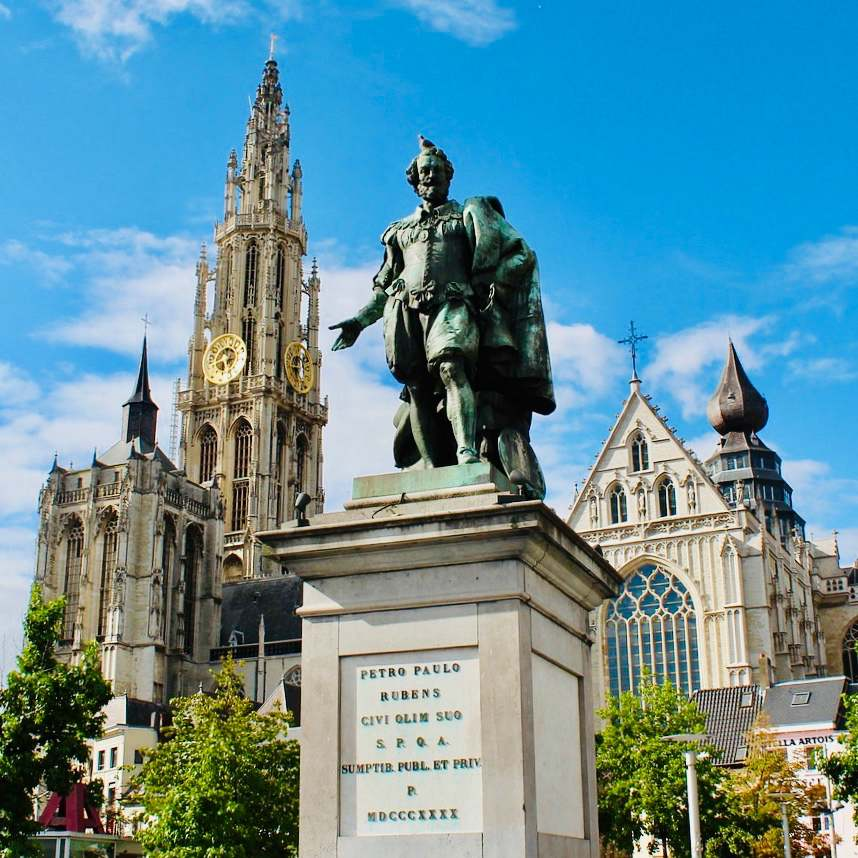 a image of the statue of Rubens in Antwerp