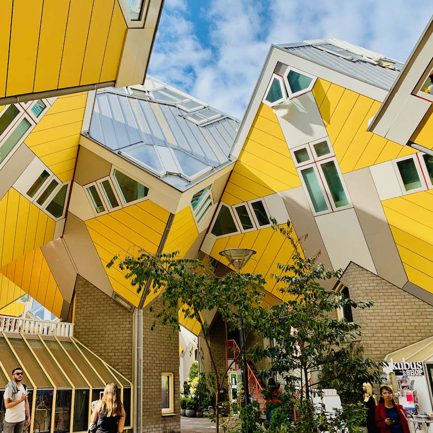image of a yellow cube house in rotterdam holland