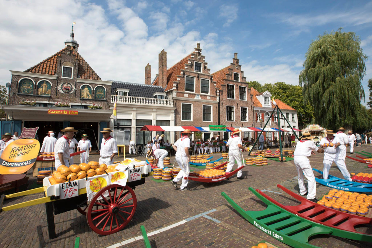 a beautiful image of the cheese market in Edam