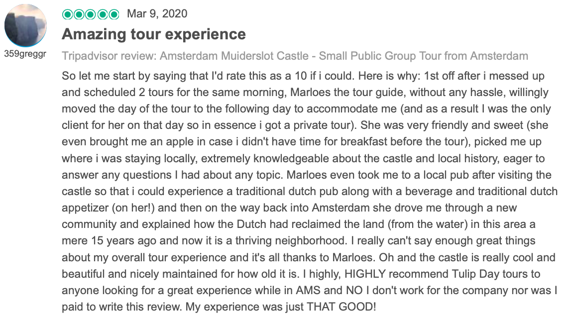 Review about tulip day tours