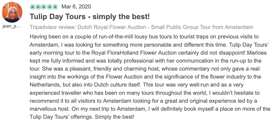 Review about the flower auction with tulip day tours
