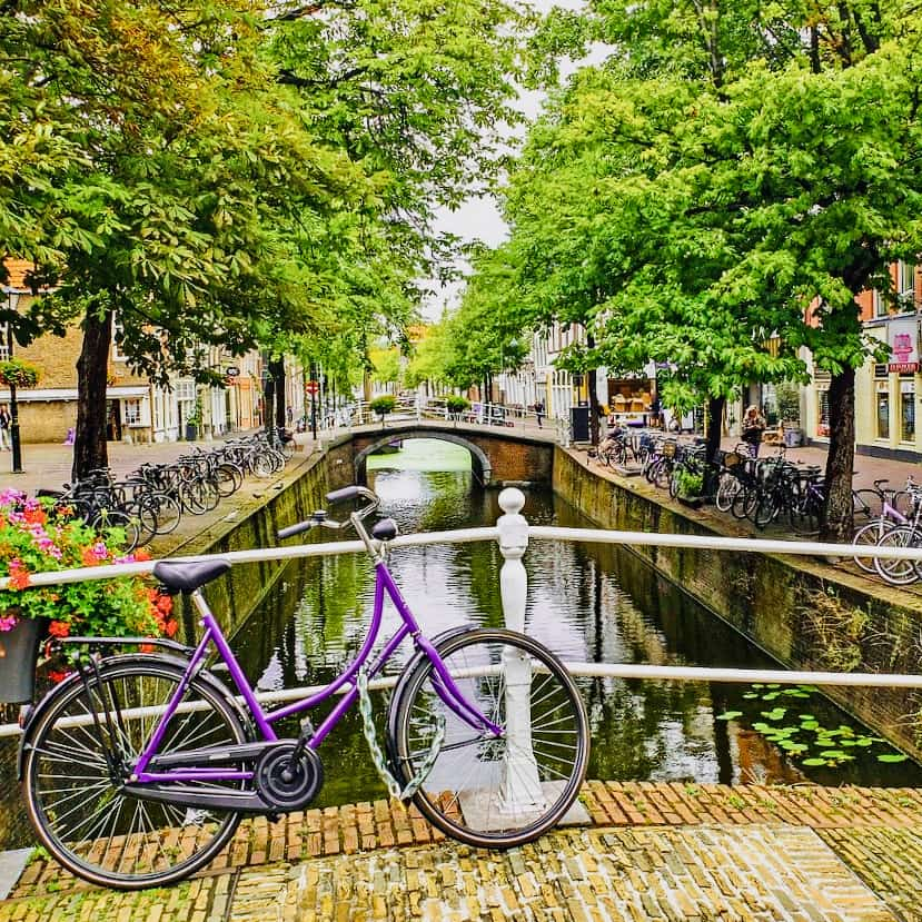 streetview on the canals of Delft with Tulip Tours  in holland