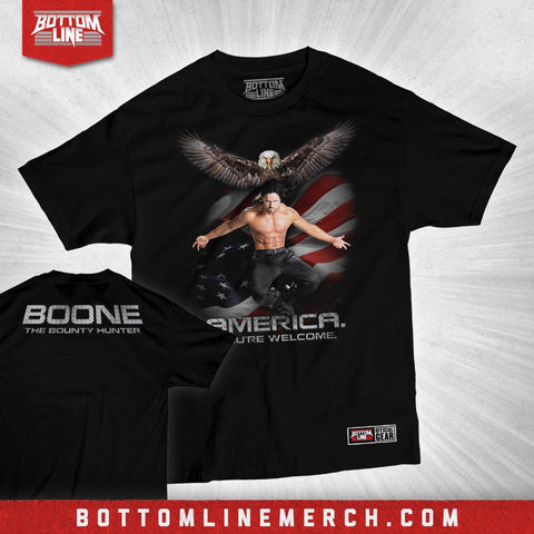 "Buy Now – Boone The Bounty Hunter ""America, You're Welcome"" Shirt – Wrestler & Wrestling Merch – Bottom Line"