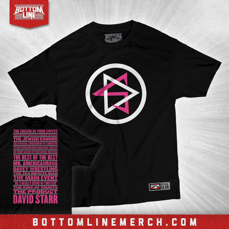 "David Starr ""DS Nicknames"" Black Shirt (Pink Ink)"