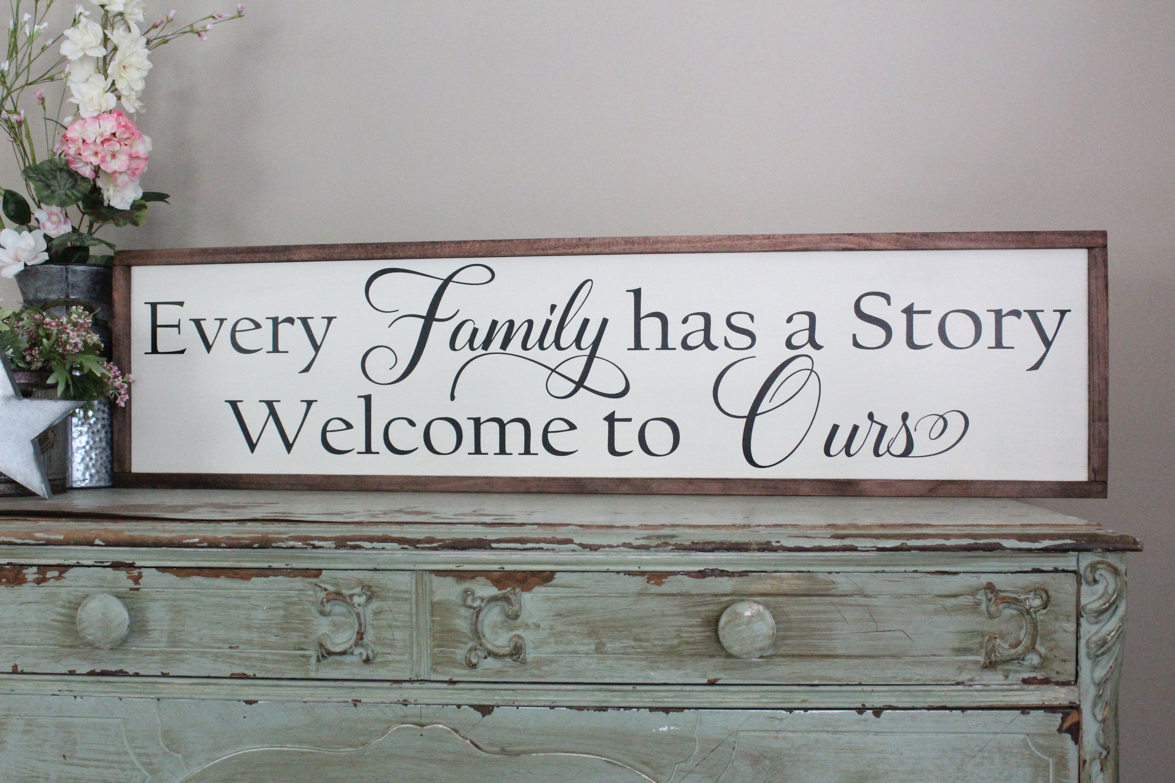 Every family has a story sign welcome to ours crafty mama gifts - Countryside homes parents welcoming ...