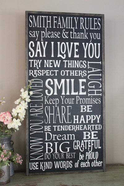 Family Rules 2'x4' Vertical Framed Sign