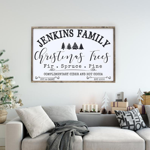 Personalized Family Name Christmas Tree Farm 2'x3' Framed Sign