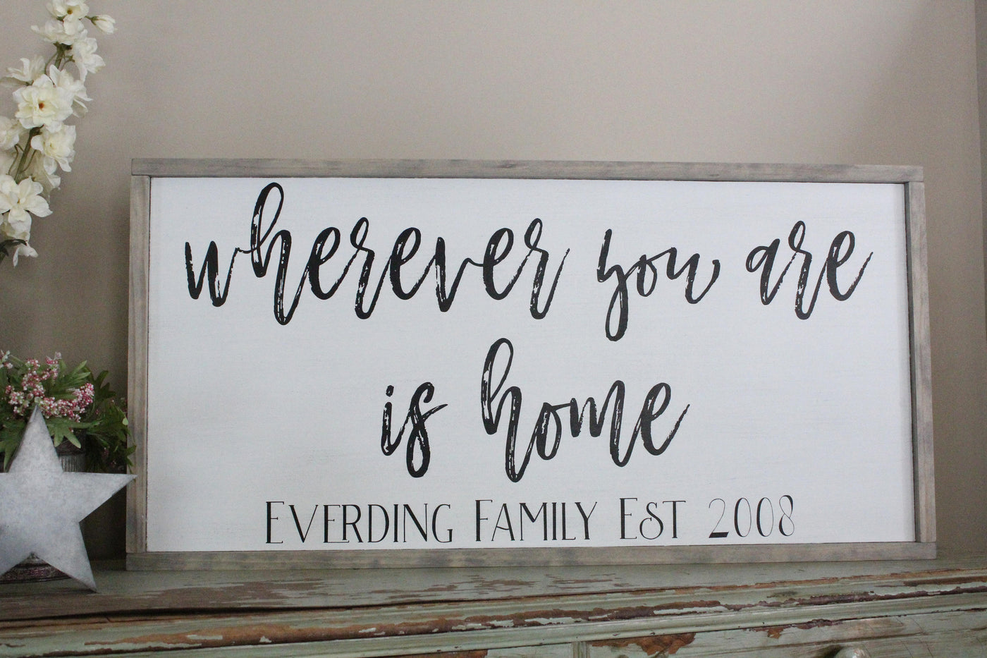 wherever you are is home family name sign Crafty Mama Gifts
