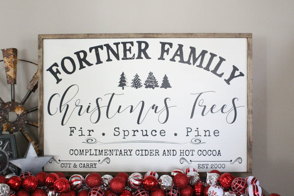 personalized family name Christmas tree sign Crafty Mama Gifts