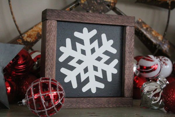 "Snowflake #4 7""x7"" Framed Sign"