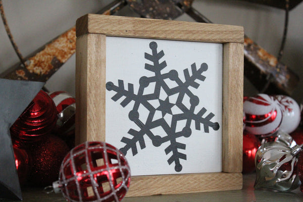 "Snowflake #6 7""x7"" Framed Sign"