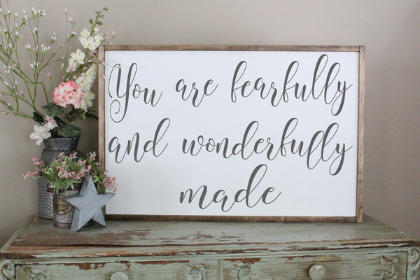 you are fearfully and wonderfully made sign Crafty Mama Gifts
