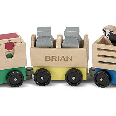 Melissa & Doug Personalized Farm Train Set 3 Linking Cars Classic Wooden Toy