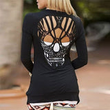 Fashion Women's Long Sleeve Skull Backless  Casual Jumper T Shirt